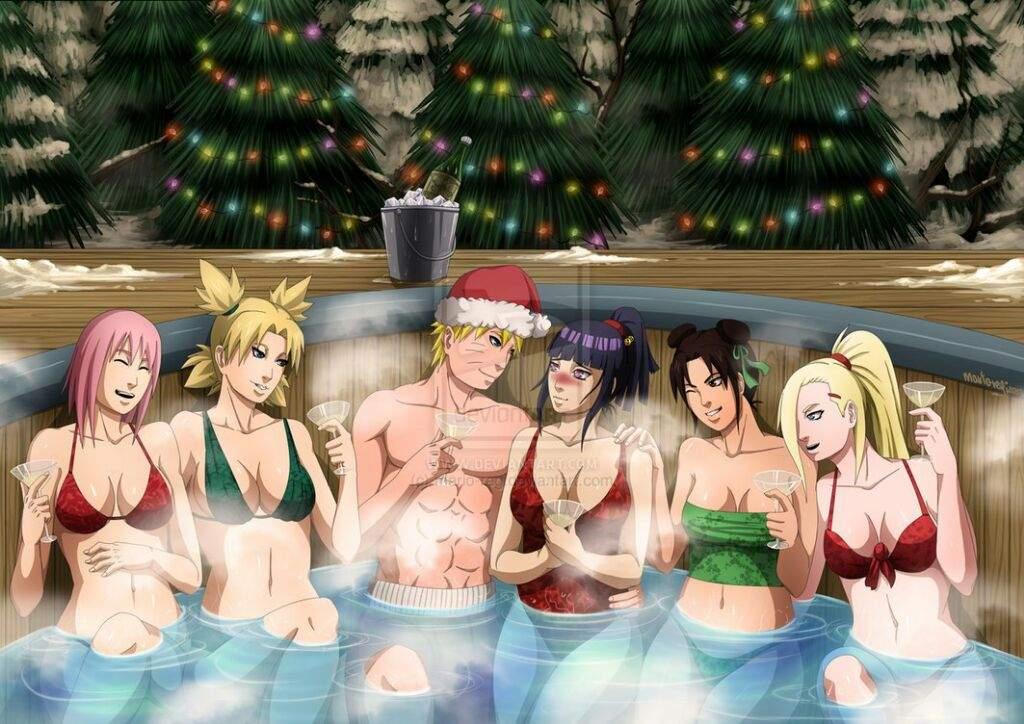 Anime Naruto Women Females Girls Sexy Sensual Babes Leaves Artistic Fantasy Wallpaper