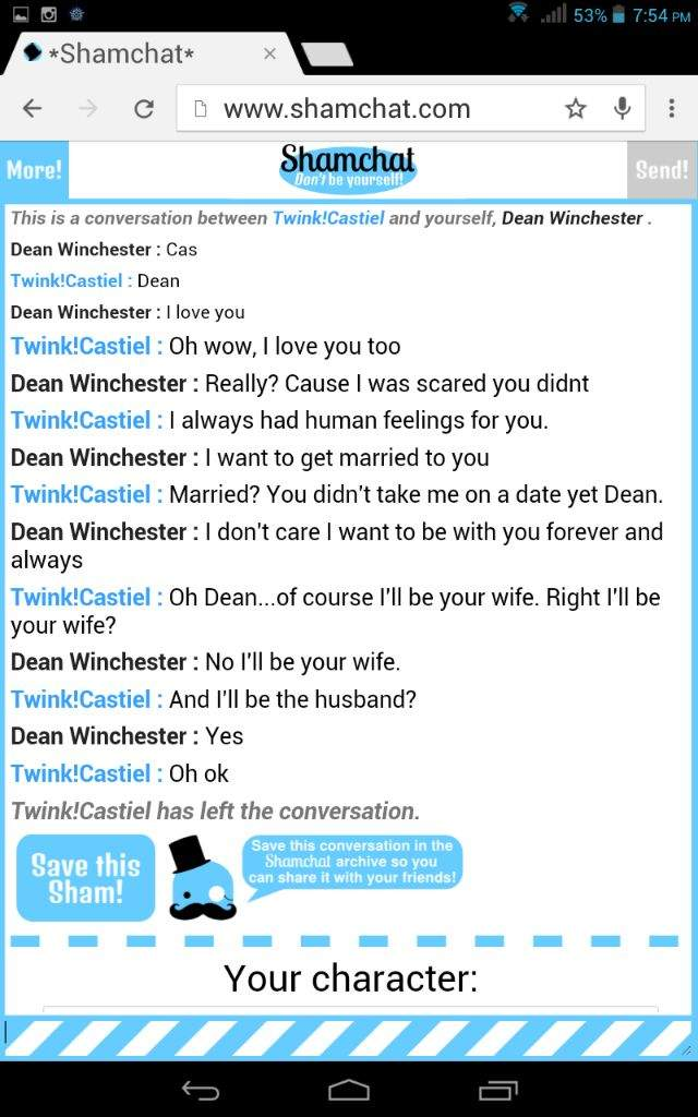 shamchat as dean supernatural amino