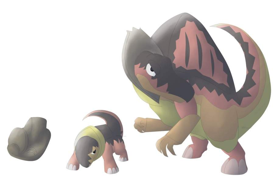 fan made pokemon. that looks cool it like could be rock/dark or rock/fire water/rock because the spinosauru was also a water animal would actually go on all 4s fan made pokemon e