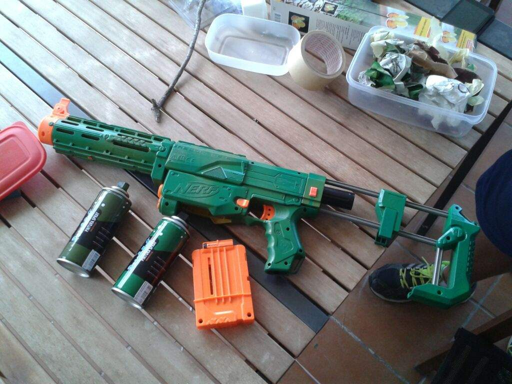 this time i painted a nerf gun w camo spray paint from walmart n it fits
