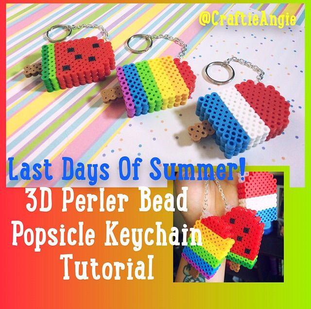 3d Perler Bead Popsicle Keychains Crafty Amino