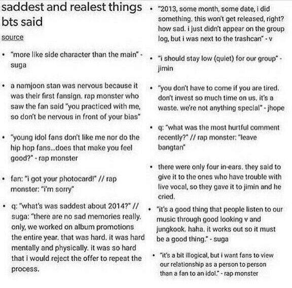 Saddest Things BTS Said? | K-Pop Amino