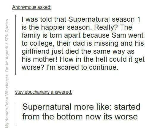 A Tumblr Post Supernatural Amino
