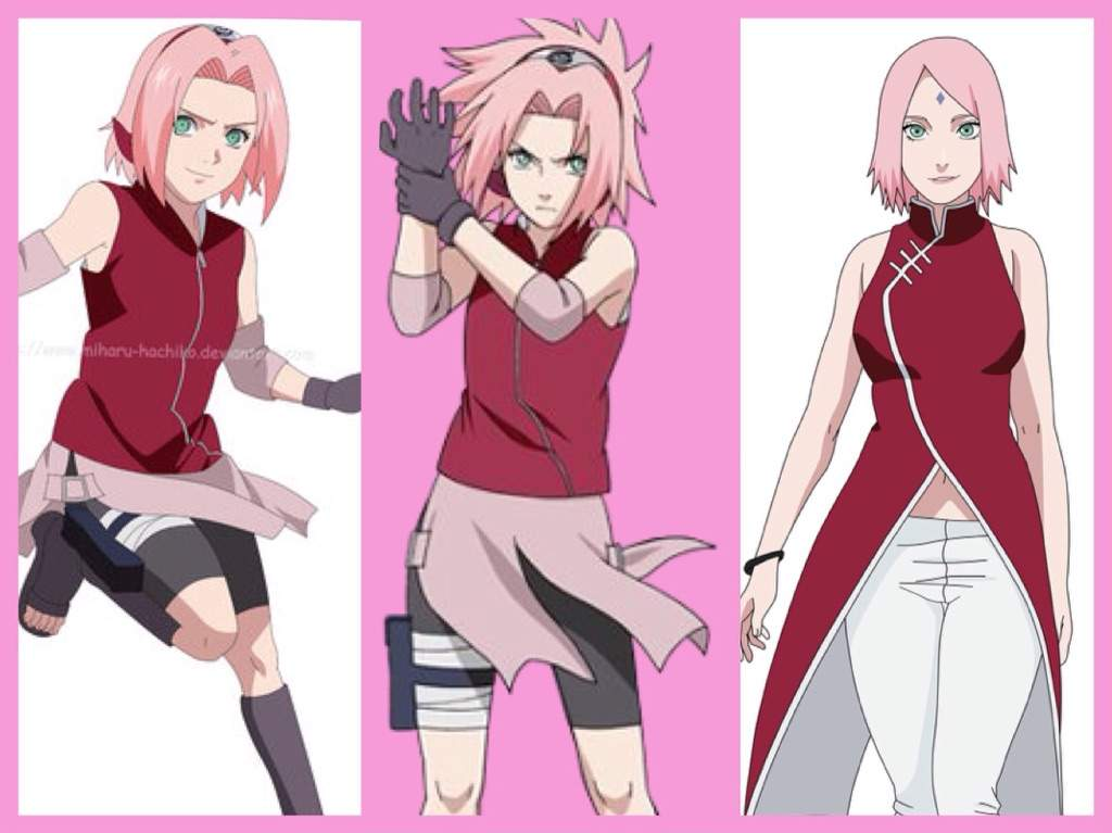 Character analysis sakura haruno anime amino she now wears a sleeveless red qipao dress that reaches her upper thighs with white trimmings and a white circular design on the back similar to her part i voltagebd Gallery