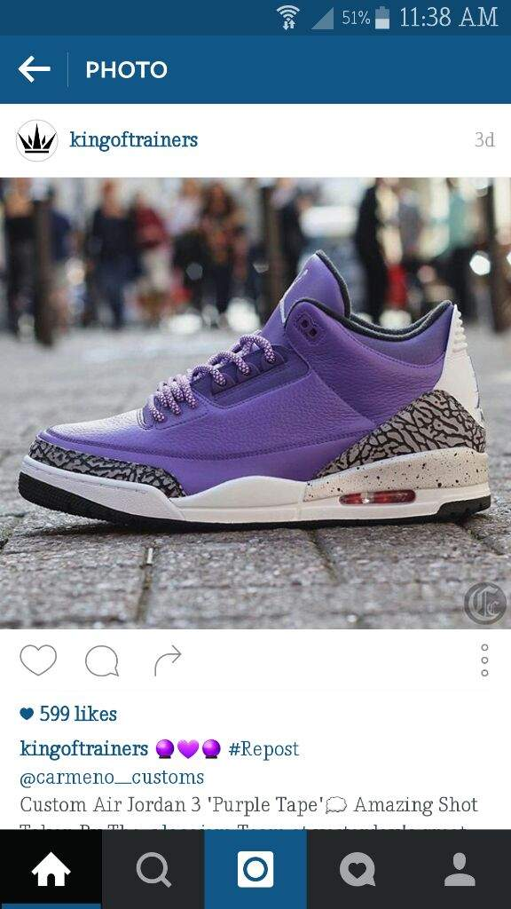 b377acebb9899a ... on line today and spotted this picture and I remember you saying that  you loved purple on Sneakers so I thought you might want see this customs  bro