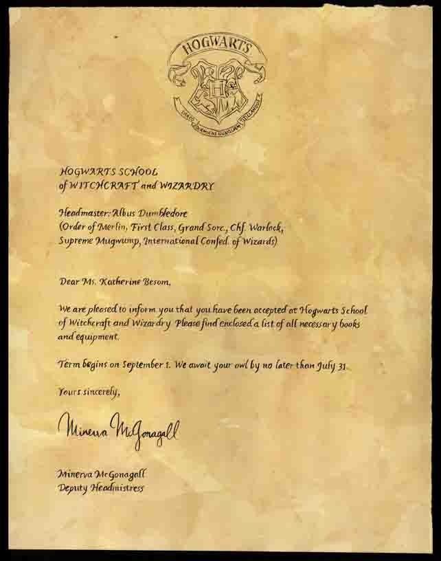 Harry Potters Official Hogwarts Letter is For Sale – Hogwarts Acceptance Letter
