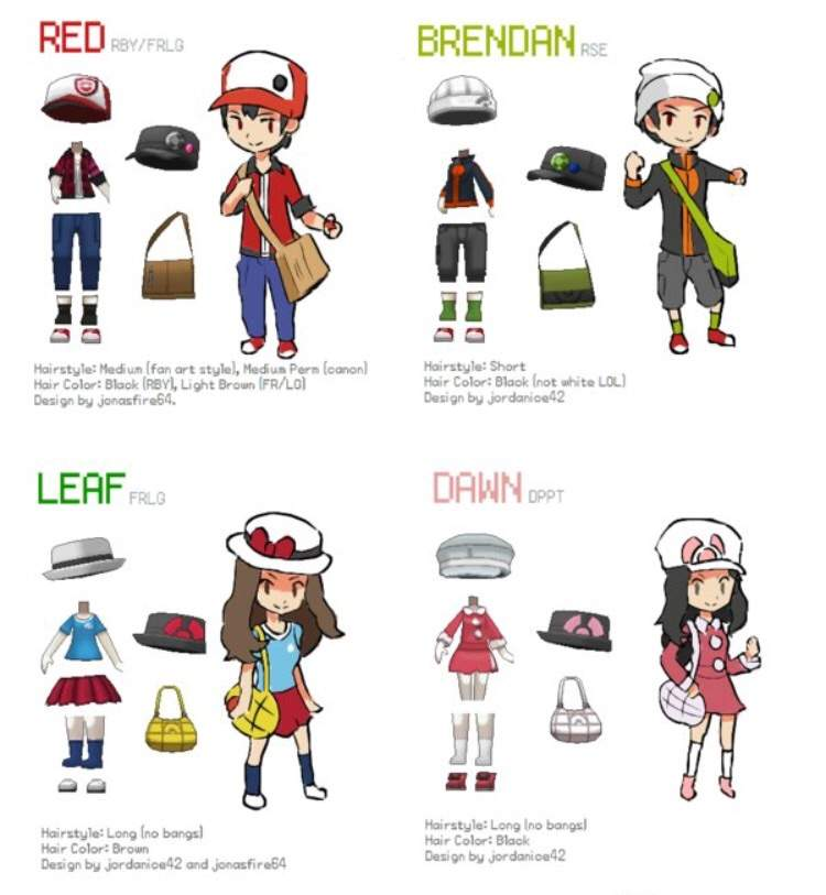 Red Brendan Leaf And Dawn Pokemon Y Outfits Pokmon Amino