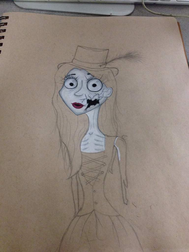 Tim burton inspired broken doll drawing