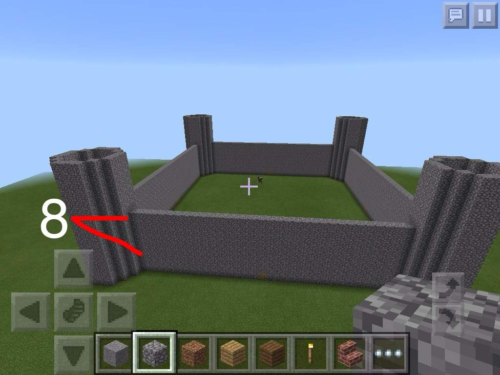 Then For Our Walls, Raise The Whole Cobblestone Lines 8 More Blocks High.