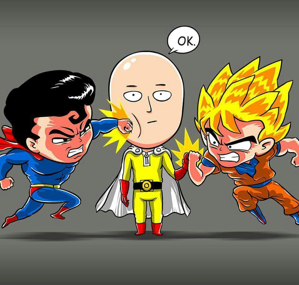 one punch man vs goku and superman anime amino. Black Bedroom Furniture Sets. Home Design Ideas