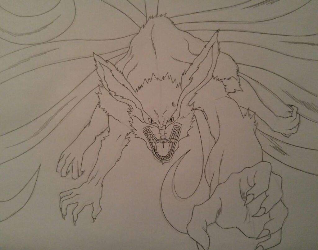 Drawing: Kurama, The Nine-Tailed Fox | Anime Amino