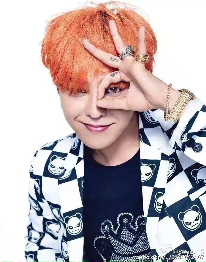 G dragon with orange hair