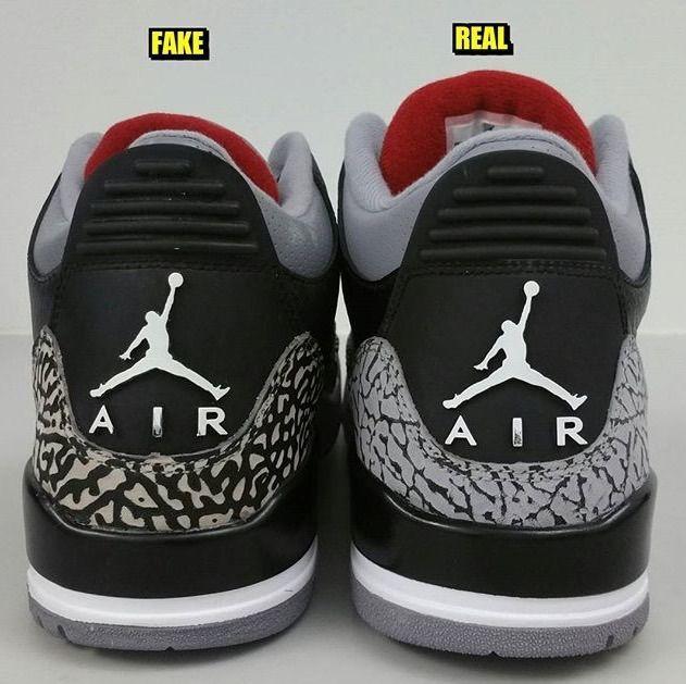 Air Jordan 3 Faux Ciment Noir Vs Real Christian