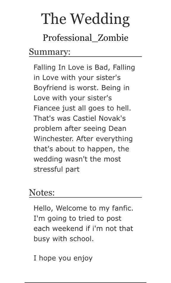 THE WEDDING: my first fanfic | Supernatural Amino