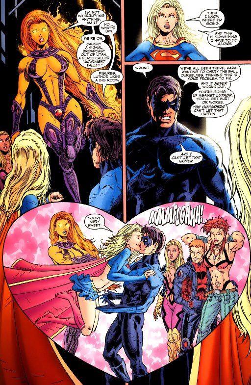 Supergirl Kisses Nightwing - Orgamesmic
