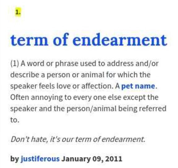Terms of endearment male