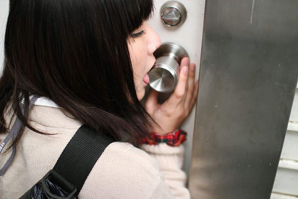Asian girls licking doorknobs, ass fucking threesome photos
