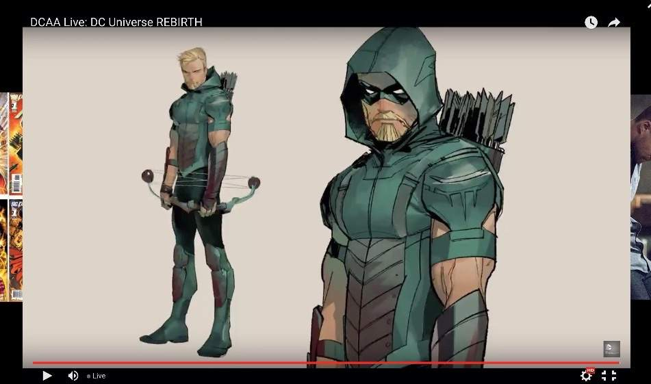 Just saw the new green arrow costume for rebirth............ I am not to sure how I feel about it. It look the same as the costume used in the arrow TV show : the green arrow costume  - Germanpascual.Com