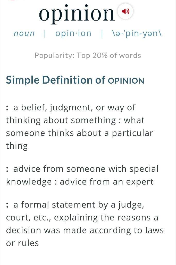 what is the definition of opinion