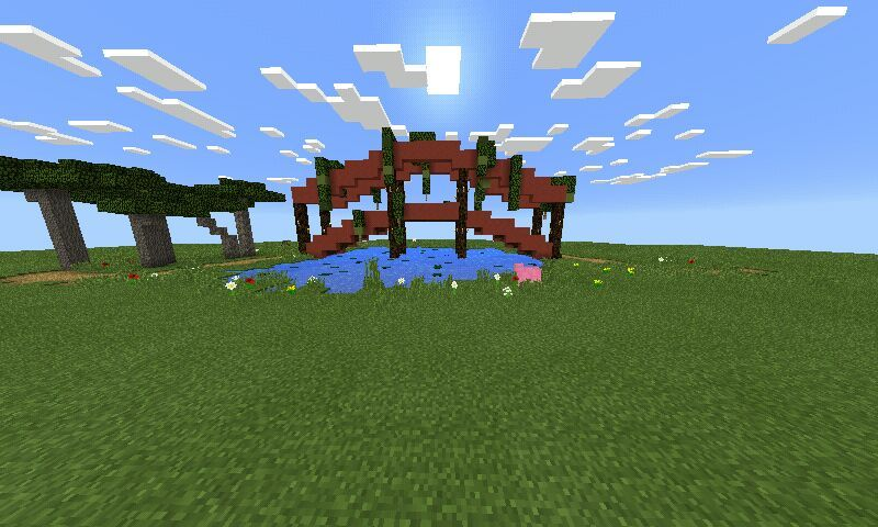 i added some leaves and a water underneath the bridge to make it look a bridge cuz why make a bridge when u have nothing to cross over 3idk - Minecraft Japanese Bridge