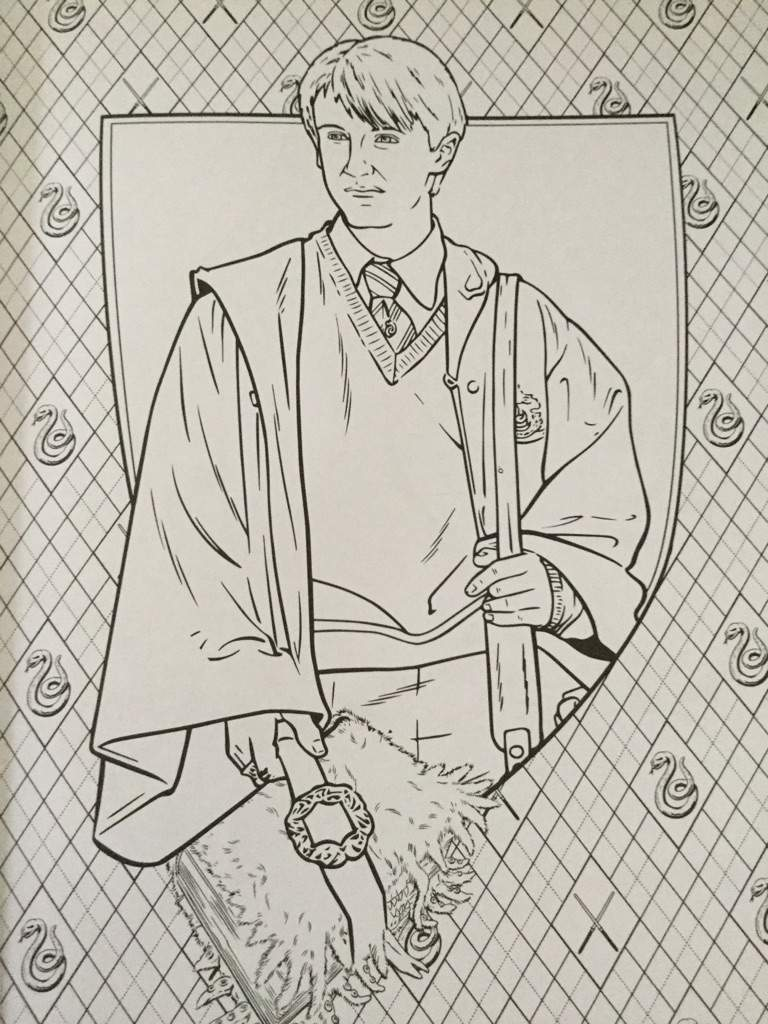 Harry Potter Coloring Book Hogwarts Gryffindor QUIDDITCH Slytherin Draco Malfoy
