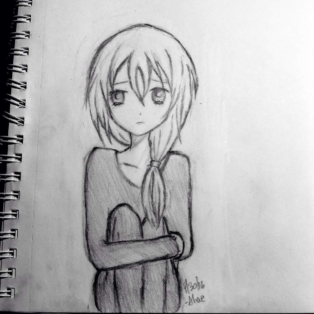 Sad anime girl sketch