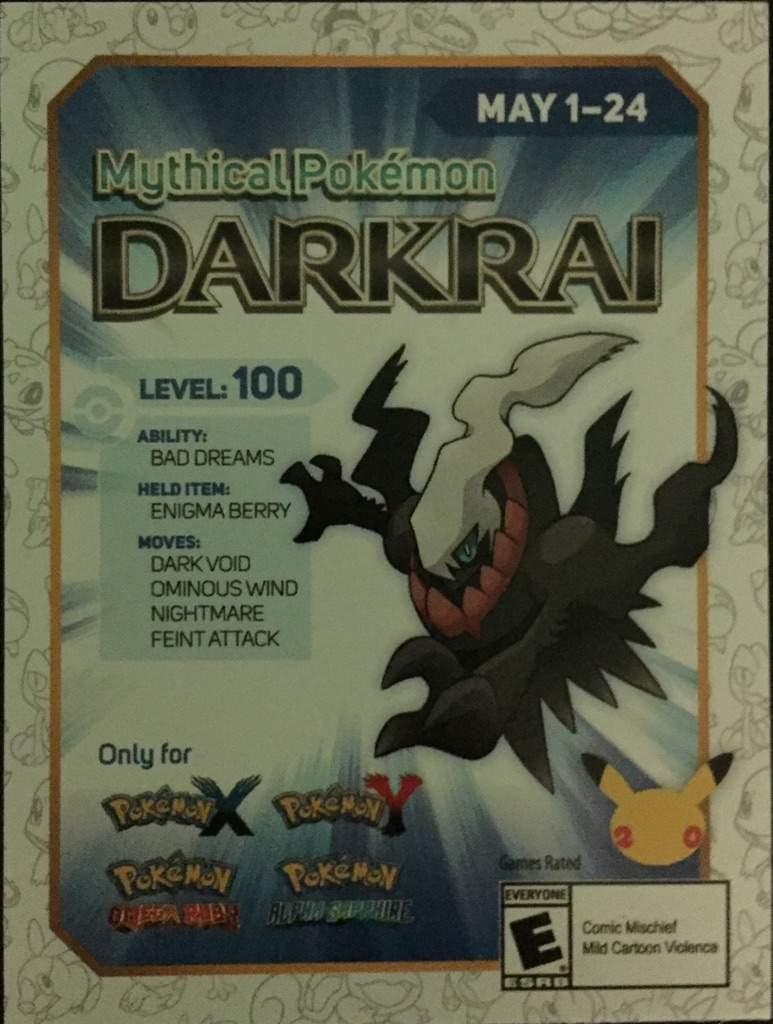 Pokemon shiny darkrai giveaway sweepstakes