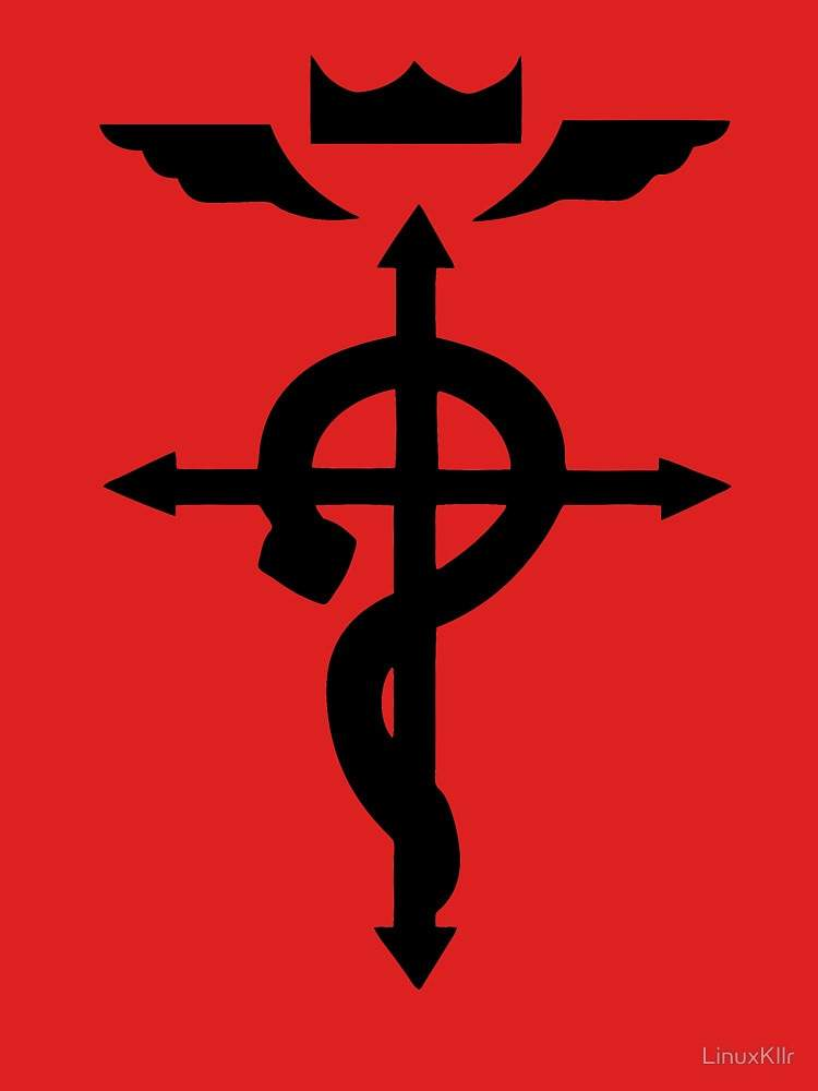 The Symbol On Back Is Known As Flamel It Composed Of A Snake Or Serpent Draped Around Cross With Wings And Crown Above