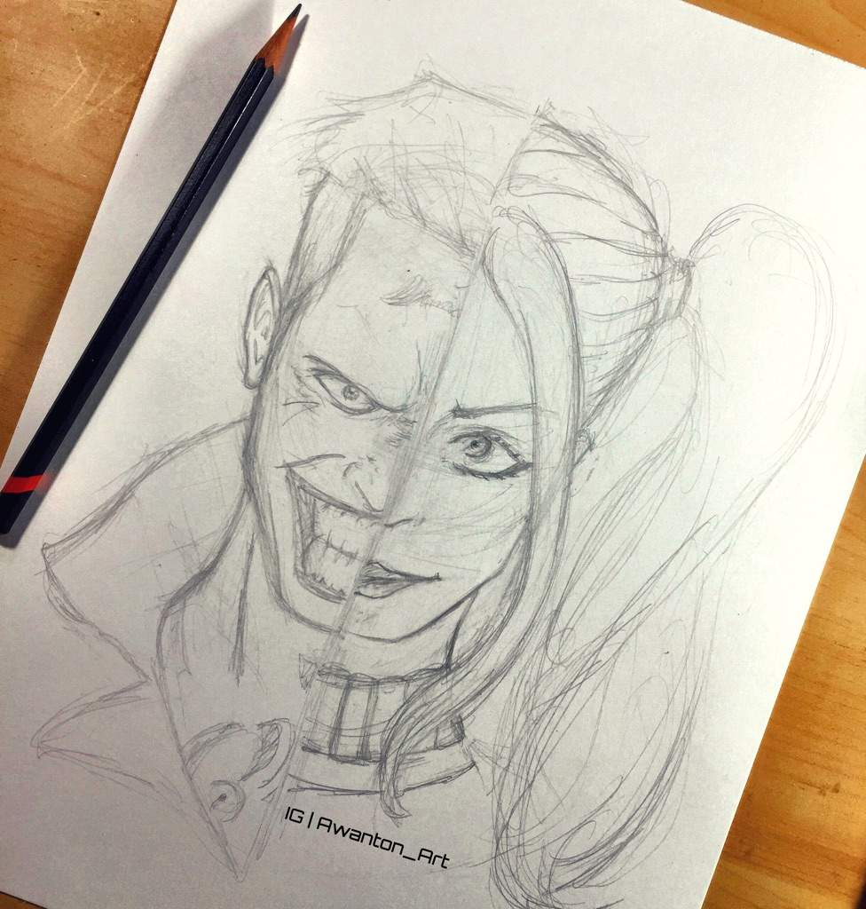 Joker harley quinn sketch wip