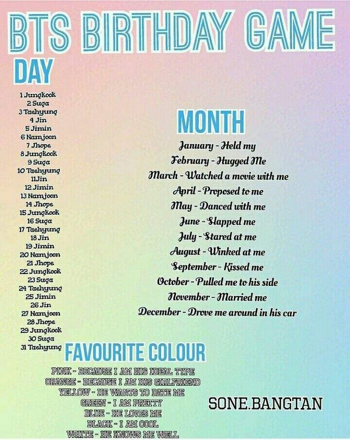 BTS- BIRTHDAY+FAVORITE COLOR GAME | K-Pop Amino