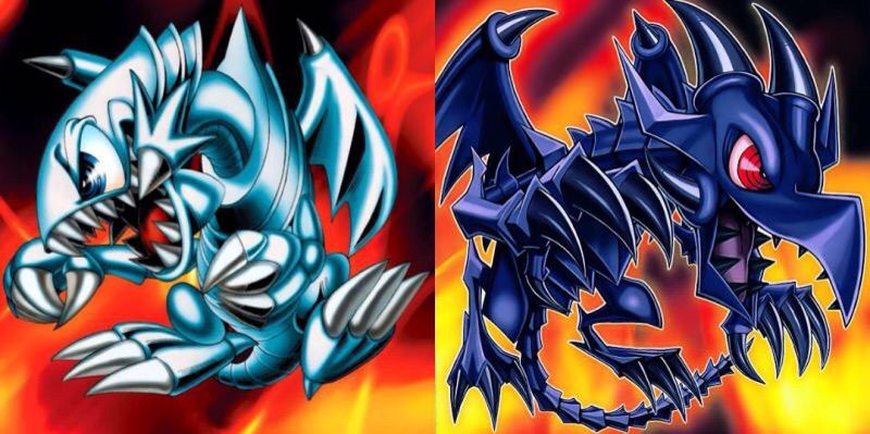 blue eyes and red eyes artwork comparison duel amino