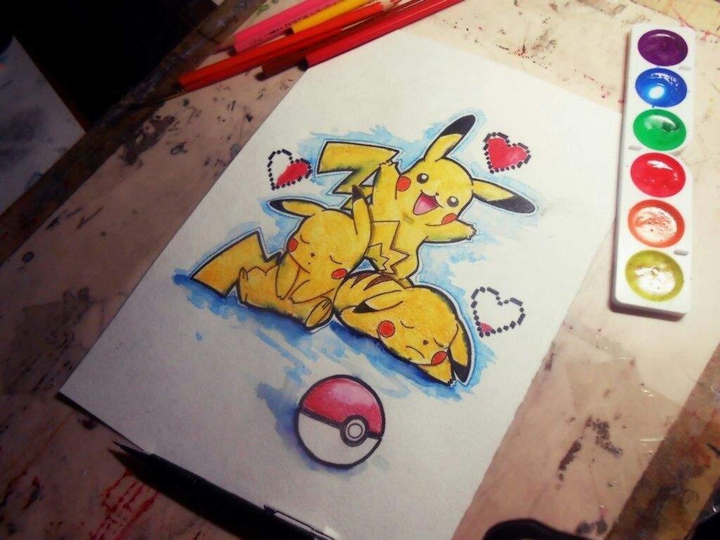 Pikachu/arte en acuarelas🎨\