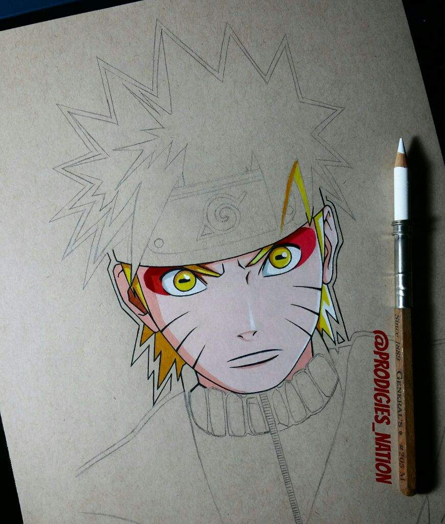 Drawing of naruto sage mode color pencils