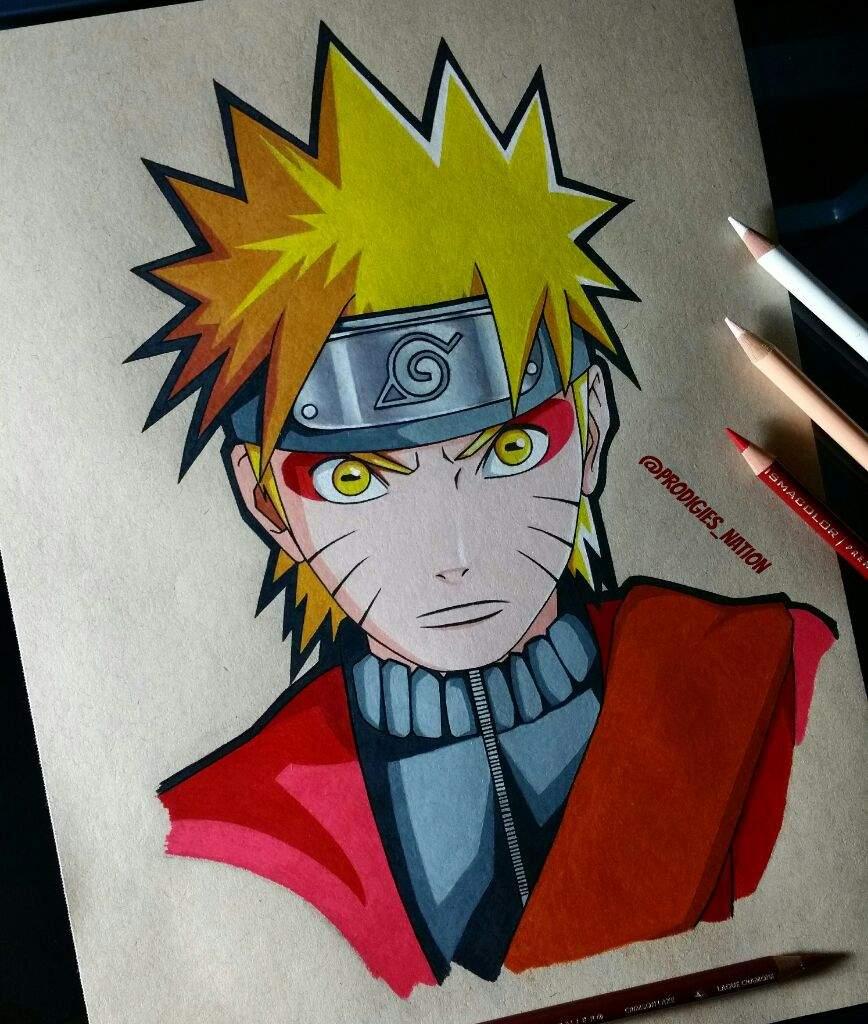 Drawing Of Naruto Sage Mode Color Pencils Anime Amino