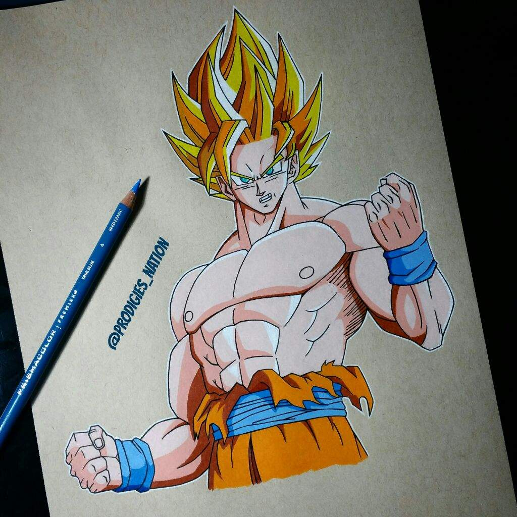 Drawing of goku color pencils anime amino