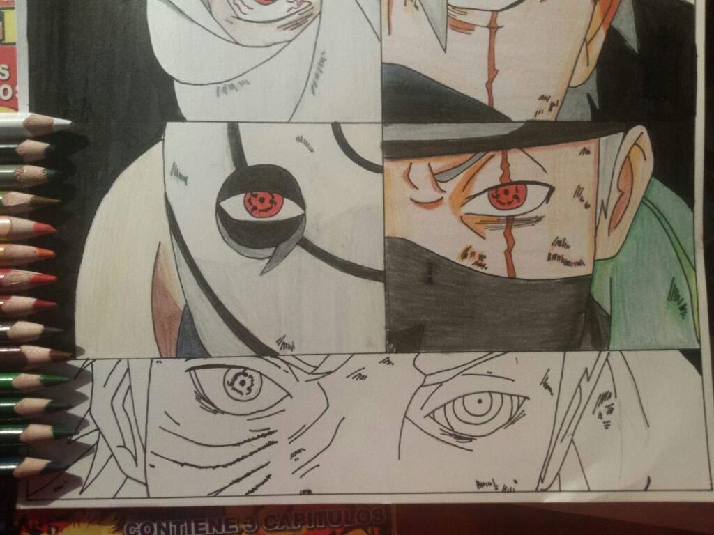 DIBUJO KAKASHI Y OBITO Todo el Proceso  Anime Amino