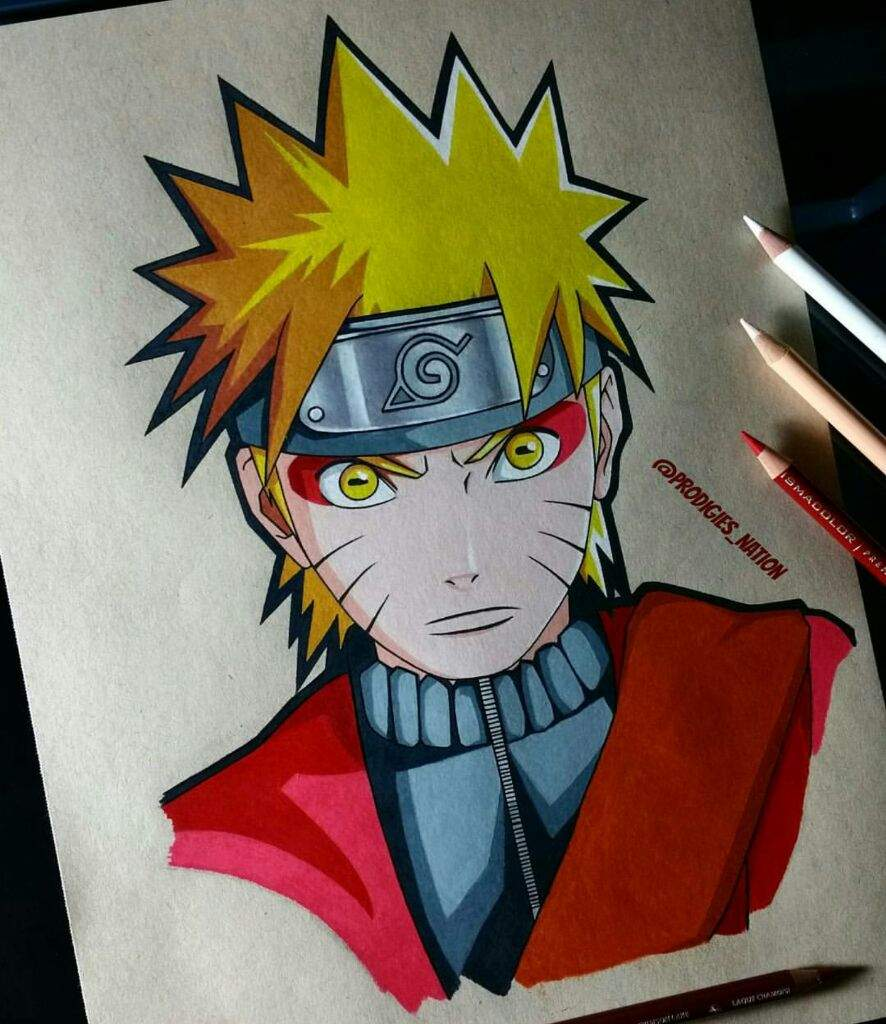 Drawing of naruto in sage mode color pencils