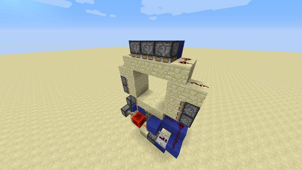 how to make a sticky piston door with a button