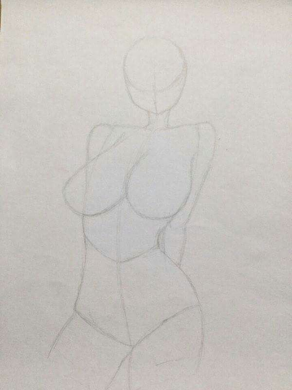 First I Sketched Up A Rough Outline Of The Body
