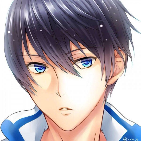 Black hair blue eyed anime guy