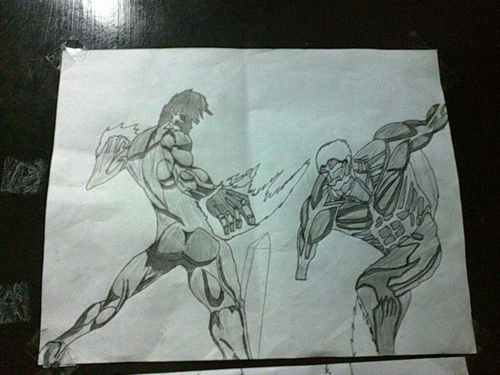 Mi Dibujo De Eren Vs Reiner Attack On Titan Amino