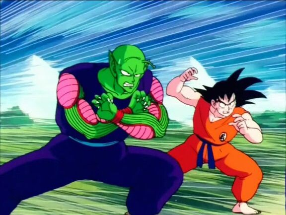 Goku DBZ and Piccolo DBZ making fighting poses at an enemy not pictured.