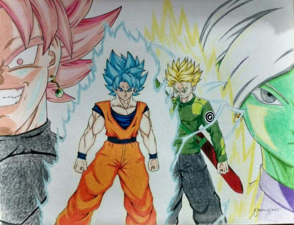 Goku Y Trunks Vs Black Y Zamasu (proseso De Dibujo