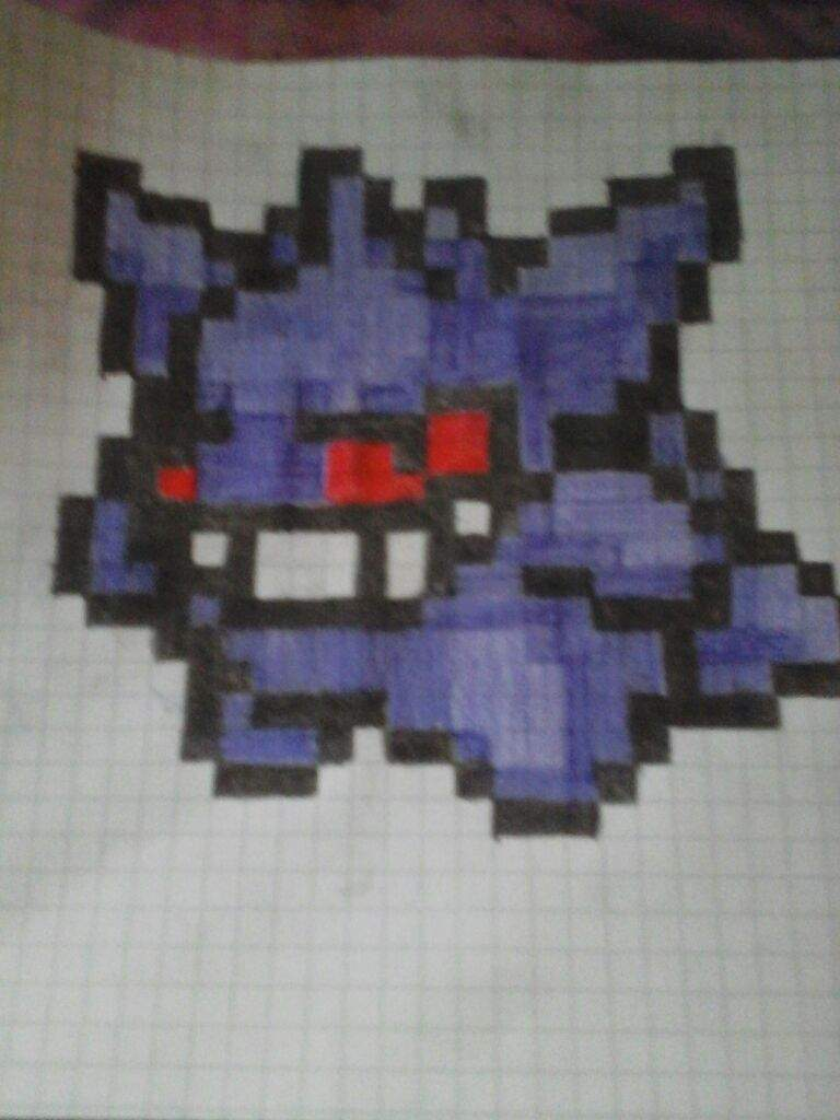 on grid paper and didnt take me too long so if you want to see more of these pixel drawings just comment on what pokemon you would like me to draw