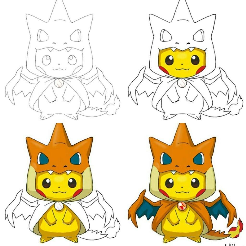 My Digital Sketch of Pikachu in Mega Charizard Y costume ...