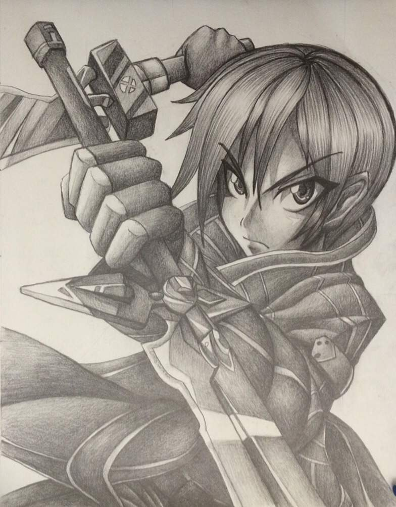 Kirito pencil drawing anime amino