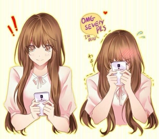 Texting to the person that i love with this face in the - Anime girl on phone ...