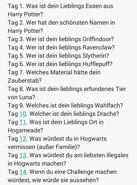 Eigene 14 Tage Challenge Harry Potter Amino