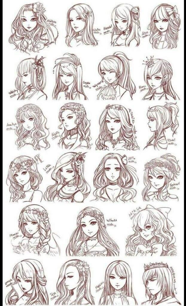 Formas modernas de dibujos de peinados Colección de ideas de color de pelo - Estilos de peinado | Cartoon Amino Español Amino