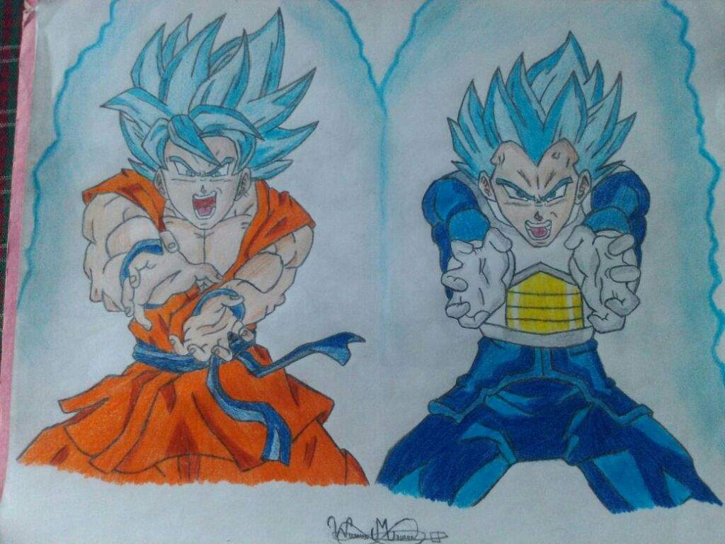 What Up Guys This Was Difficult To Make Goku And Vegeta SSJ Blue With They Tecniques Drawing Inspired By Dibujame Un Hope You Like It